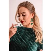 Top velvet print green
