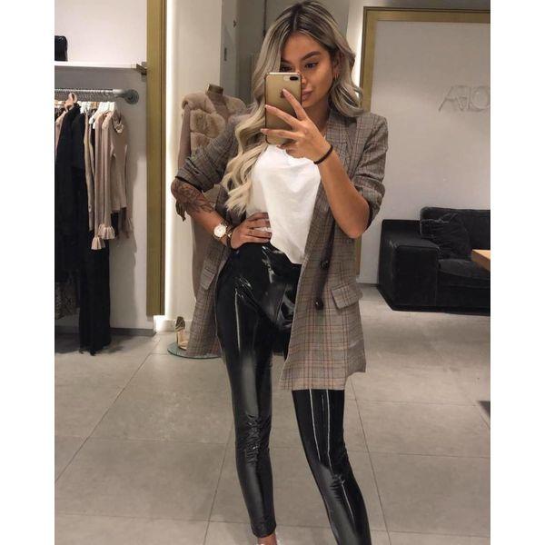 Checkered blazer brown