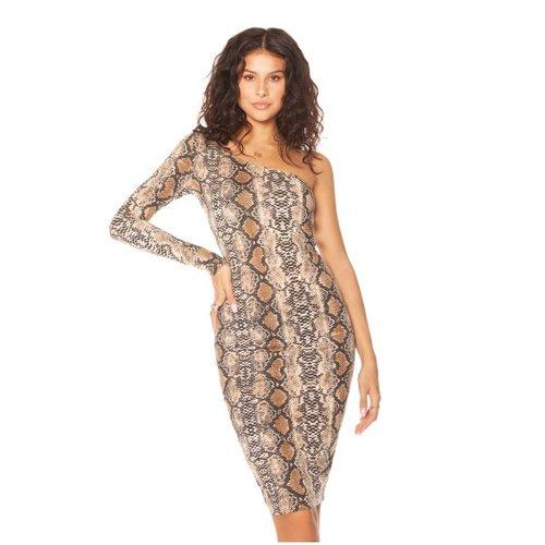 Off-Shoulder Midi Snake Dress