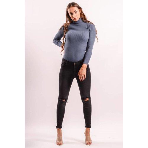 Mid jeans hidden hole black