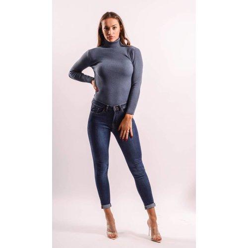Highwaist jeans long length dark blue