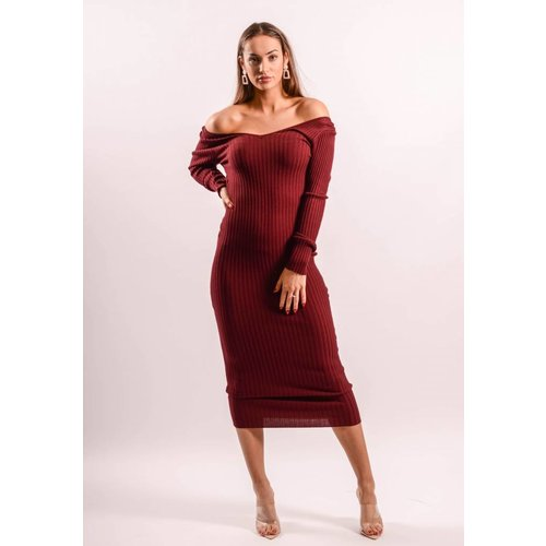 Long ribbed dress offshoulder bordeaux