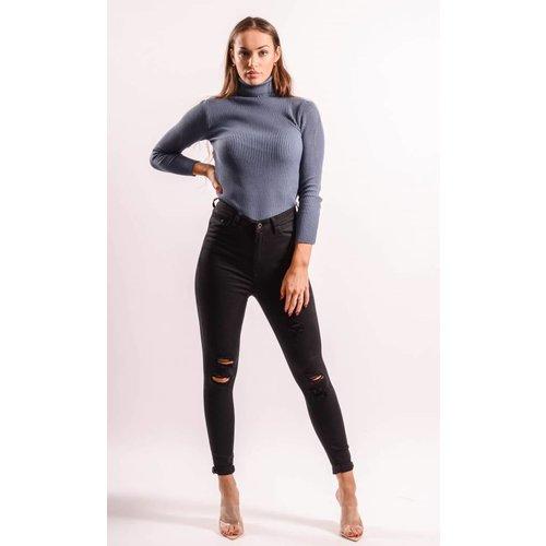 Superhighwaist jeans ripped Black
