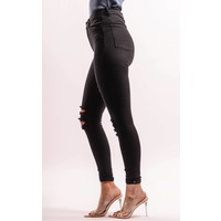 Superhighwaist jeans ripped Black
