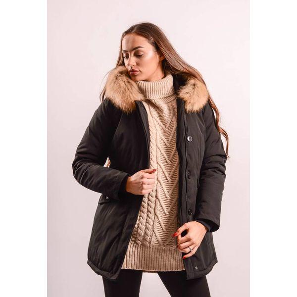 Black parka - beige real fur