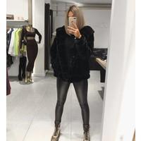 Faux fur coat short Black