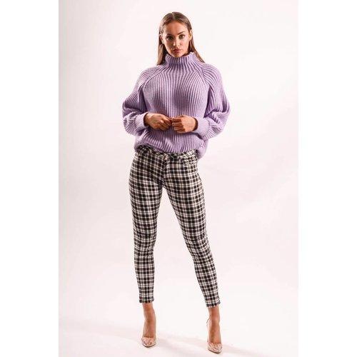 Highwaist jeans black checkered