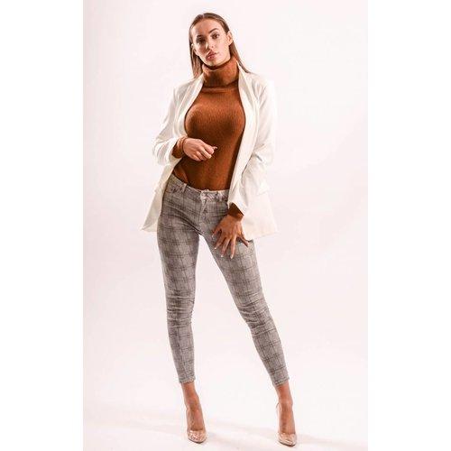 Highwaist jeans checkered brown