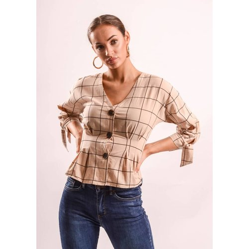 Blouse checkered beige