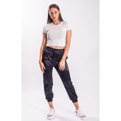Satin pants black