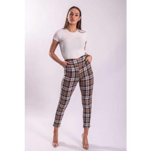 High waist pantalon checkered