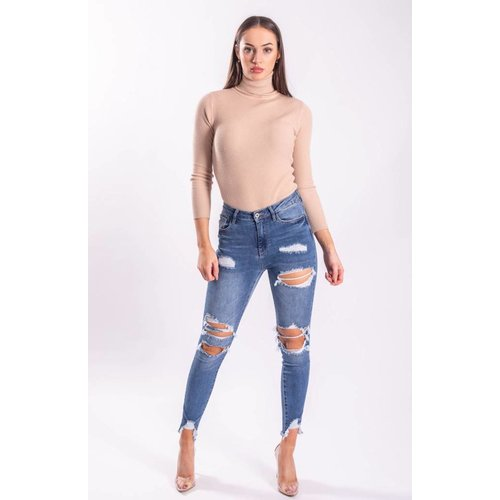 Highwaist jeans ripped holes