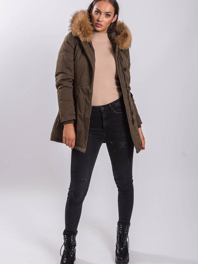 online retailer da579 004a1 Deems khaki parka - beige real fur