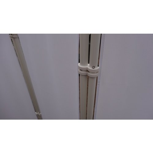 Kamerscherm - Paravent Staal Frame Wit Polyester Doek 2 meter hoog