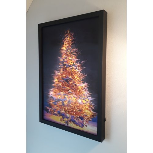 LED Canvas 3D Kerstboom Schilderij