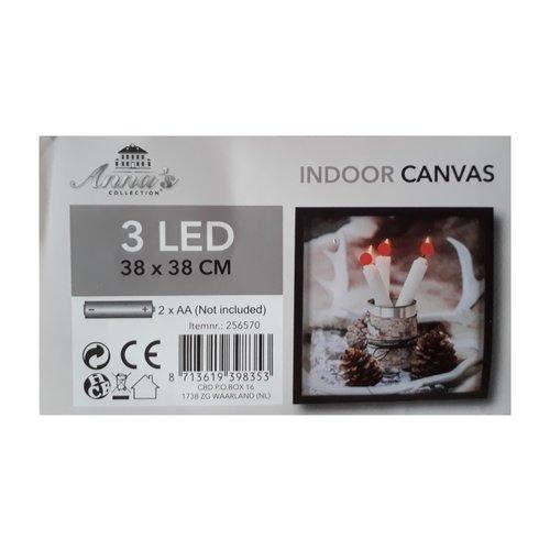 LED Canvas Schilderij Dinerkaarsen