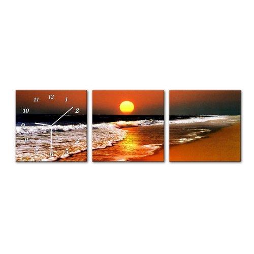 Schilderij met Klok Strand Zee Ondergaande Zon