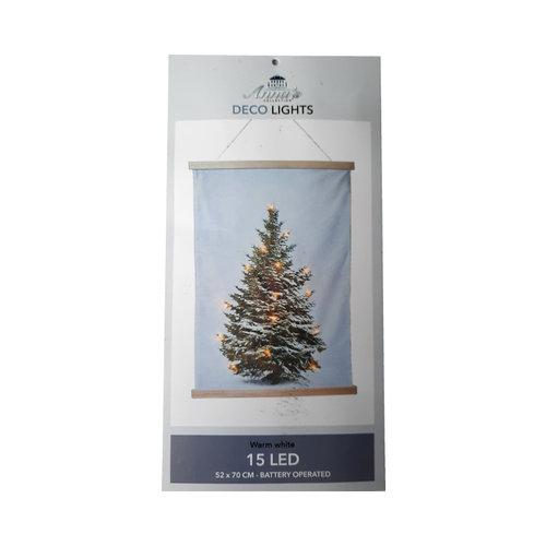 Kerstboom op  Doek met 15 LED