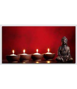 Schilderij Boeddha rood met Led verlichting
