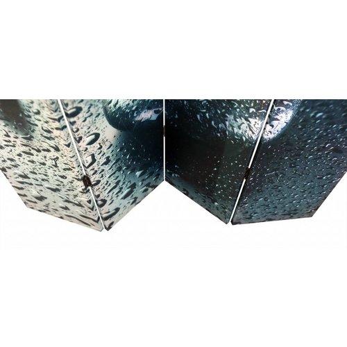 Canvas Kamerscherm Bloem, Kiezels en Waterdruppels