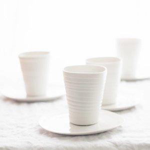 PTZE Porcelain studio Set 6 grote bekers met onderbordjes