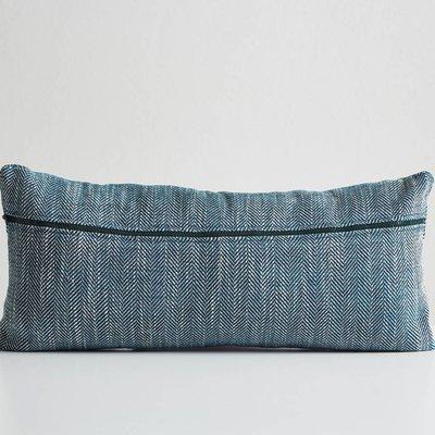 Woud Herringbone cushion petrol blue