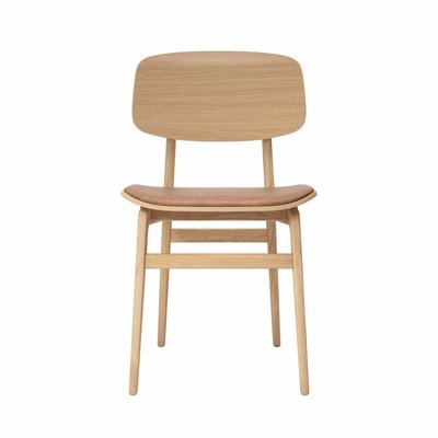 NORR11 NY11 dining chair, natural frame - vintage leather seat