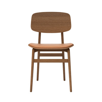 NORR11 NY11 dining chair, smoked frame - vintage leather seat