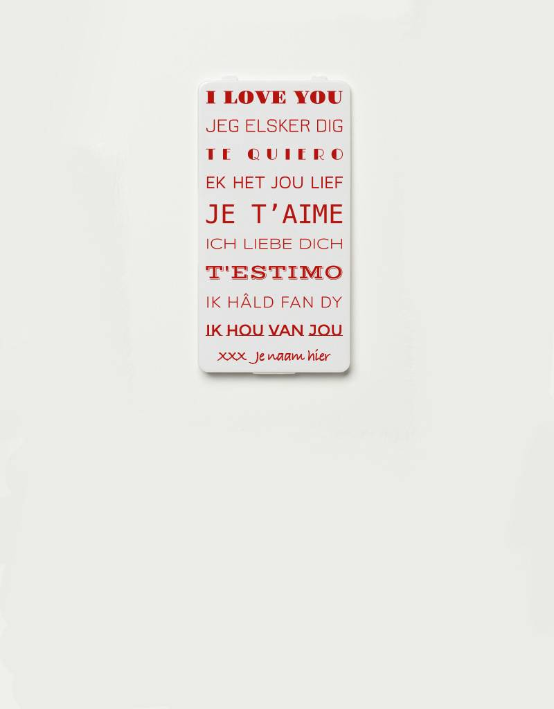 YOU·P® YOU·P® cover limited edition | YOU·P®-klepje I LOVE YOU (languages) + NAME of choice