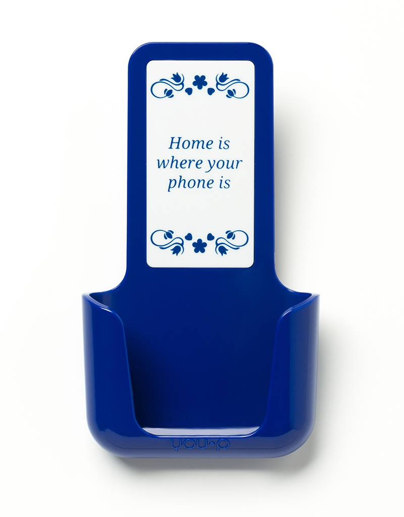 YOU·P® YOU·P® smartphonehouder | blauwe houder | blauw klepje | Home Is Where Your Phone Is