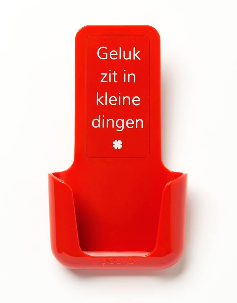 YOU·P® YOU·P® smartphonehouder   rode houder   rood klepje   Geluk Zit In Kleine Dingen