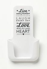 YOU·P® YOU·P® smartphonehouder   witte houder   wit klepje    Live Laugh Love