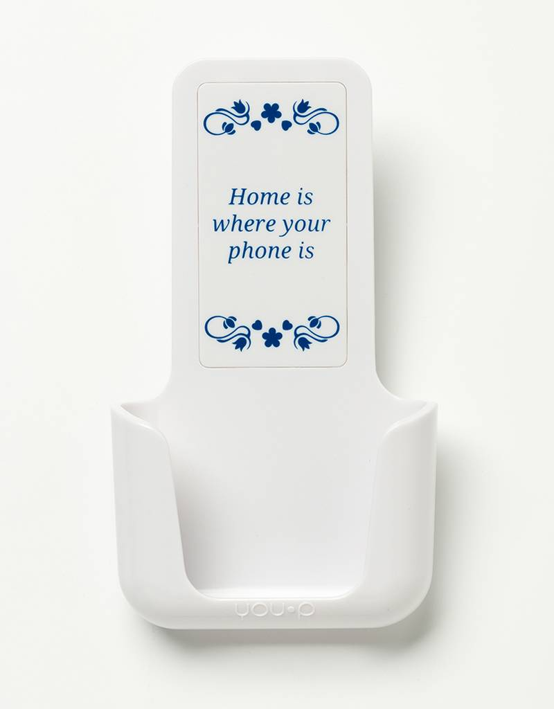 YOU·P® YOU·P® smartphone holder | white holder | white cover | Text: Home Is Where Your Phone Is