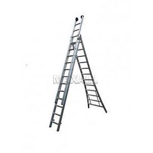 MAXALL®  Driedelige Reformladder 3x14 + gevelrollen (max. werkhoogte 9 meter)