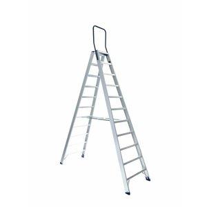 Eurostairs Dubbele trap professioneel 11 treden (max. 4,55 m werkhoogte)