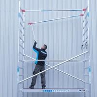 Euroscaffold Rolsteiger met vario voorloopleuning 75x250x6,2m werkhoogte
