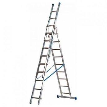 MAXALL®  Maxall Driedelige Reformladder recht 3x14 sporten + gevelrollen