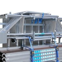 Euroscaffold Steigeraanhanger 250 + Rolsteiger Voorloopleuning Enkel 135 x 250 x 9,2 meter werkhoogte