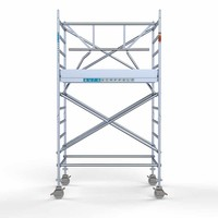 Euroscaffold RolsteigerCompleet met enkele voorloopleuning 135 x 190 x 4,2 m incl. lichtgewicht platform