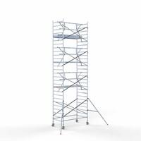 Euroscaffold Rolsteiger Compleet  135 x 250 x 9,2m werkhoogte incl. lichtgewicht platform + enkele voorloopleuning