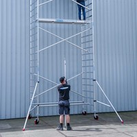 Euroscaffold Basis rolsteiger 135 x 190 x 12,2m werkhoogte met lichtgewicht platform