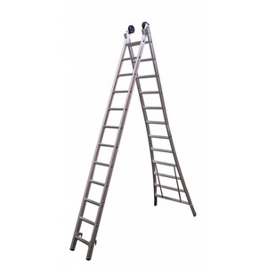 MAXALL® Tweedelige Reformladder 2x7  (max. 4,25 meter werkhoogte)