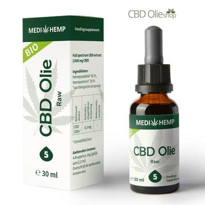 Medihemp CBD Olie Raw 5%,  30 ml