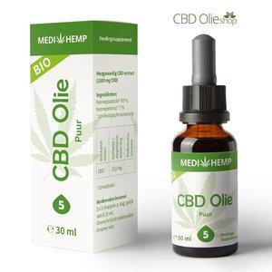 Medihemp CBD Olie Puur 5% CBD, 30 ml.