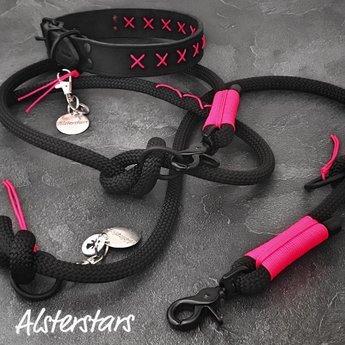 Alsterstars Lederhalsband - BLACK meets PINK