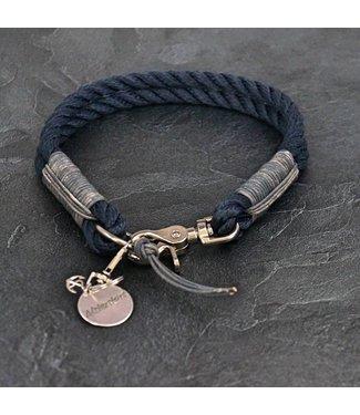 Alsterstars Marine Klassik meets Grey Leather - Halsband