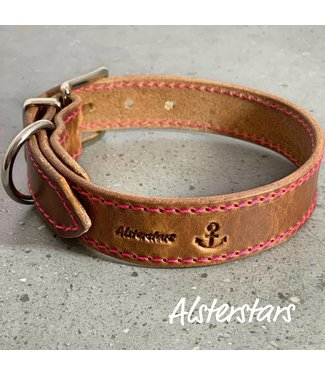 "Alsterstars Halsband ""Loveley Leather meets Pink"""