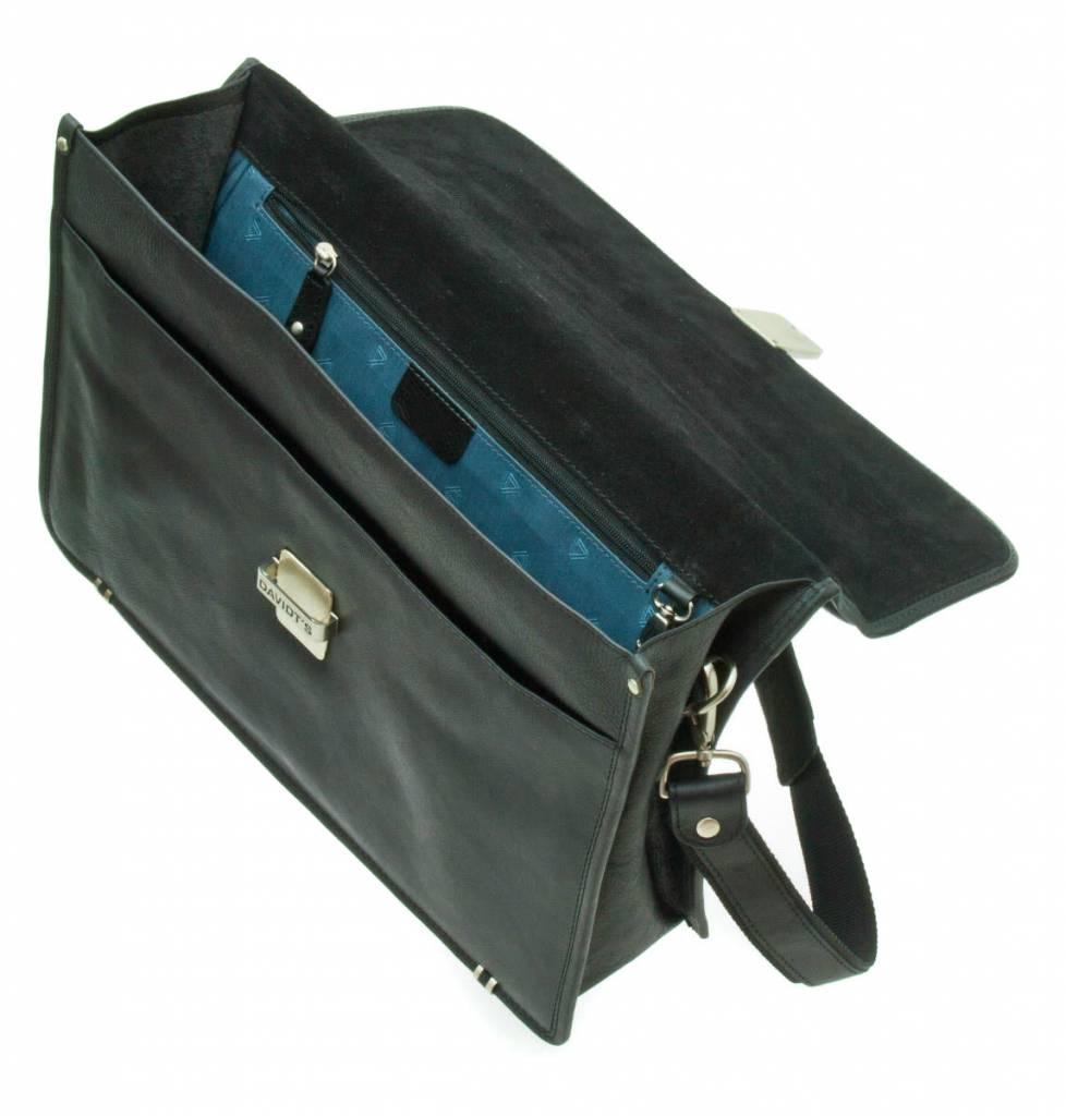 """zakelijke schoudertas - 15"""" laptop - leer - zwart"""