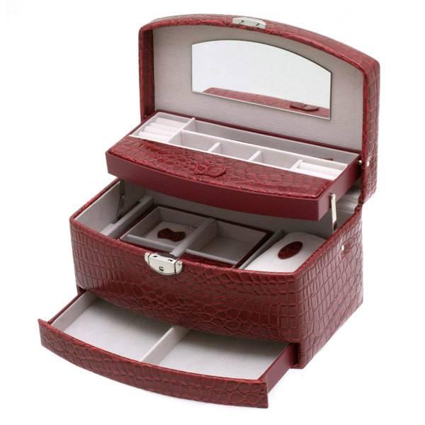 Juwelenkistje - rood - croco shiny - automatisch - 344987