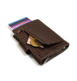 Card protector - creditcardhouder - leer - donkerbruin kroko